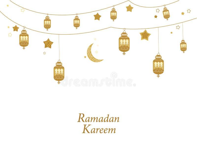 Ouro de Ramadan Kareem colorido com lâmpadas, crescentes e estrelas Lanterna tradicional do cartão da ramadã ilustração stock