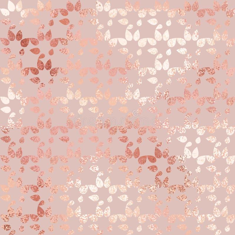 Ouro de Rosa Textura luxuoso do vetor com um teste padrão abstrato e um efeito metálico para o projeto ilustração stock