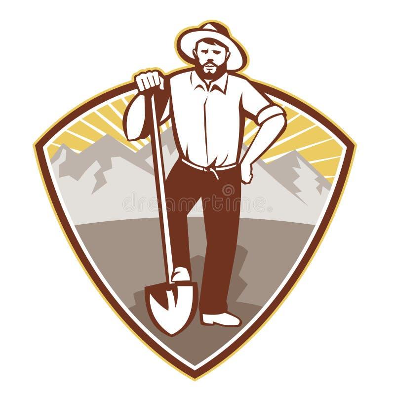 Ouro Digger Miner Prospector Shield ilustração do vetor