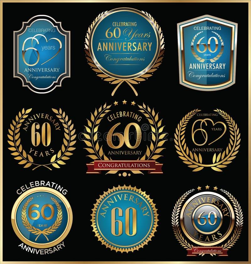 Ouro do aniversário e coleção das etiquetas do azul, 60 anos foto de stock royalty free