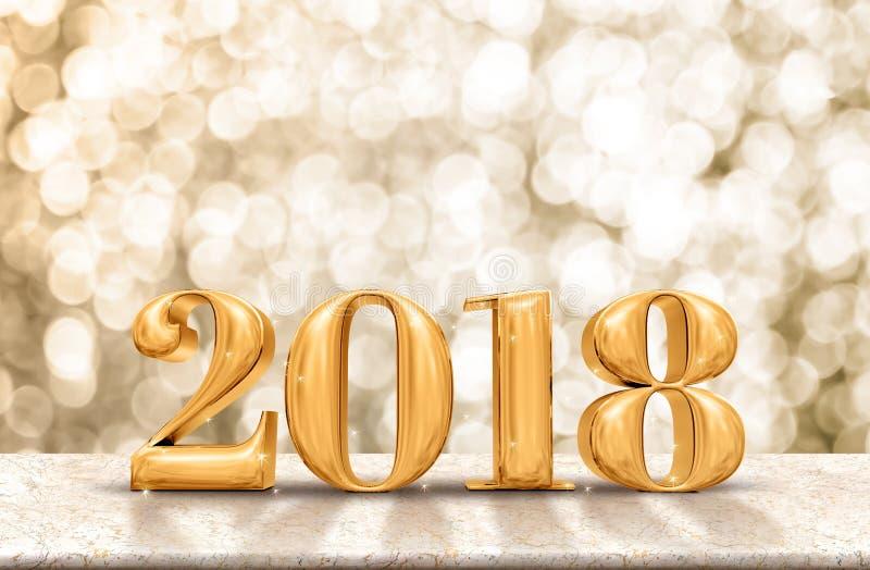 Ouro 2018 do ano novo feliz lustroso na tabela de mármore com efervescência g foto de stock