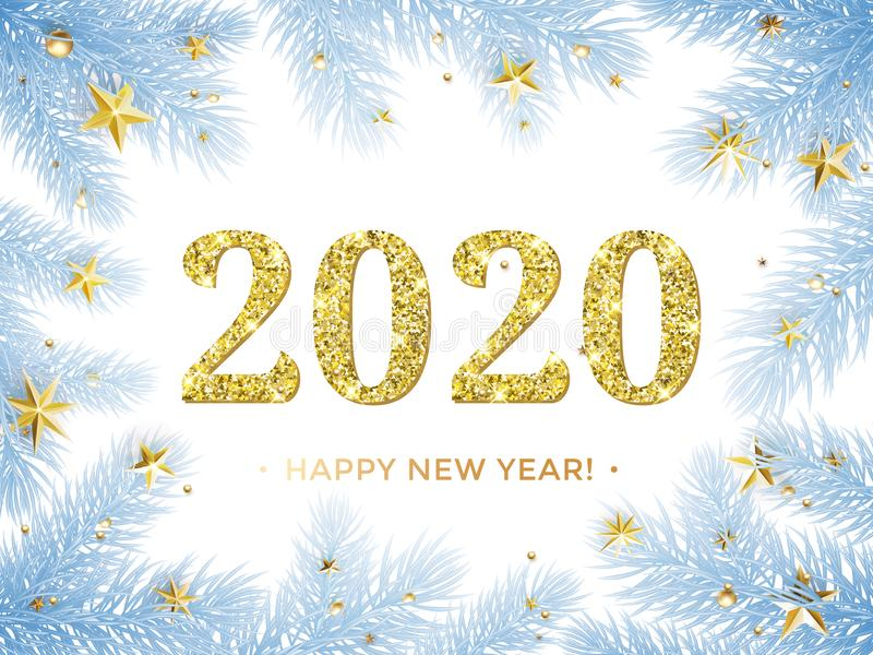 Ouro do brilho do ano novo feliz 2020 no quadro da árvore de Natal com confetes dourados das estrelas Geada azul do vetor com tex ilustração royalty free