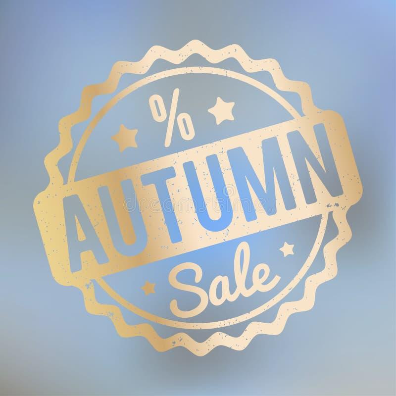 Ouro do carimbo de borracha de Autumn Sale em um fundo do bokeh do lila ilustração royalty free