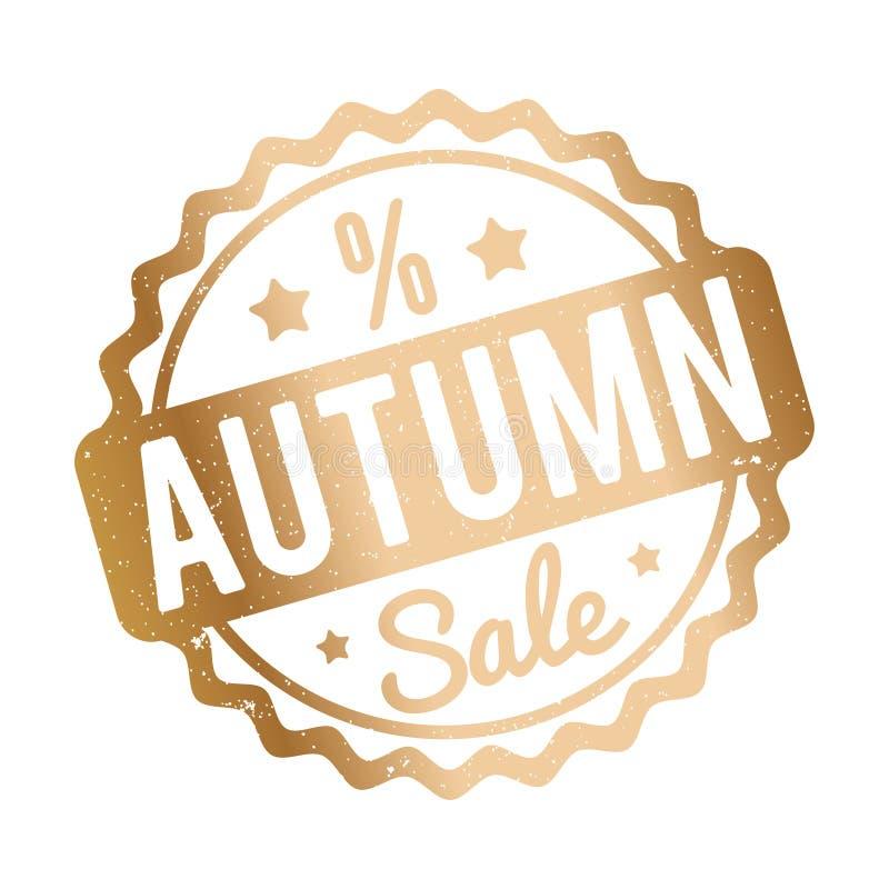 Ouro do carimbo de borracha de Autumn Sale em um fundo branco ilustração royalty free