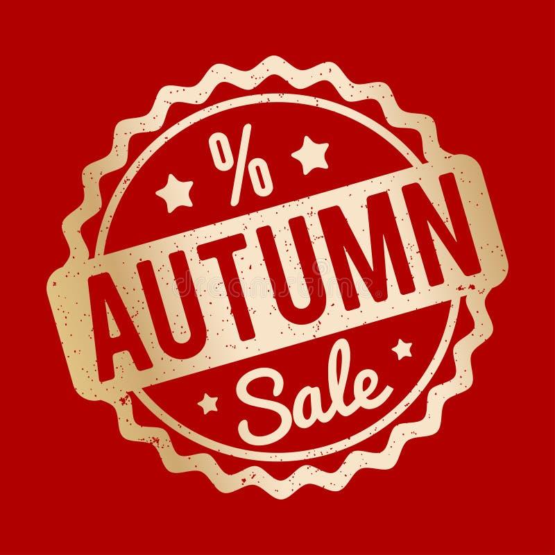 Ouro do carimbo de borracha de Autumn Sale em um fundo vermelho ilustração royalty free