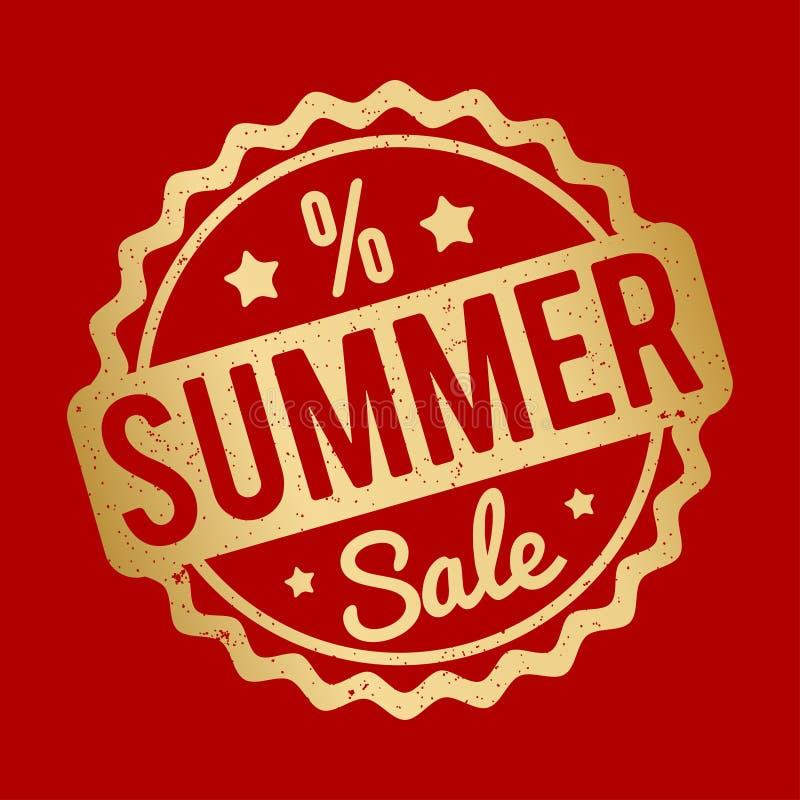 Ouro do carimbo de borracha da venda do verão em um fundo vermelho ilustração do vetor