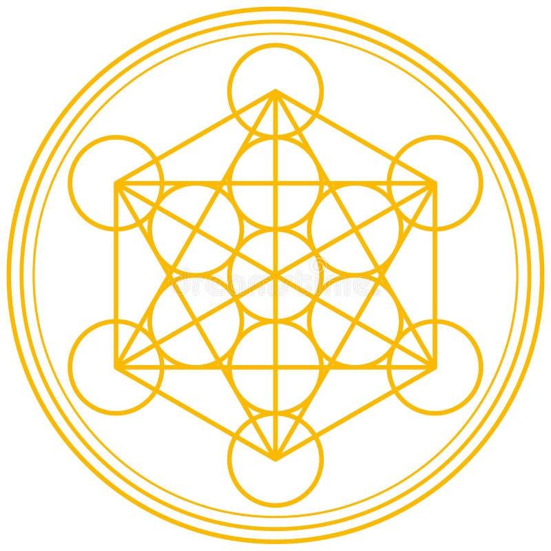 Ouro do cubo de Metatron ilustração royalty free