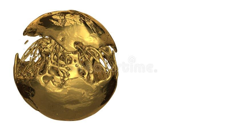 Ouro do cubo feito dos conceitos 3d usados na finan?a e no neg?cio ilustração stock