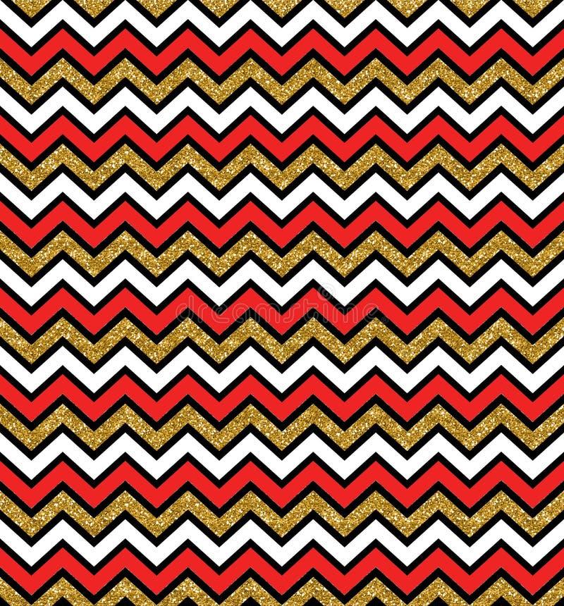 Ouro do fulgor do ziguezague e teste padrão sem emenda vermelho Fundo geom?trico Imprima o pano, etiqueta, bandeira, cartão, Web  ilustração royalty free