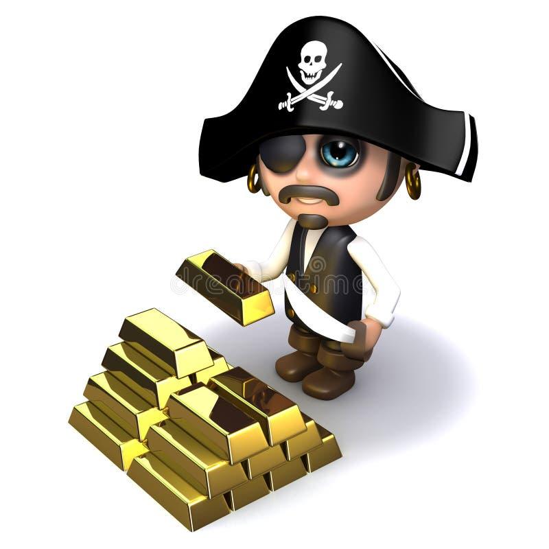 ouro do pirata 3d ilustração royalty free