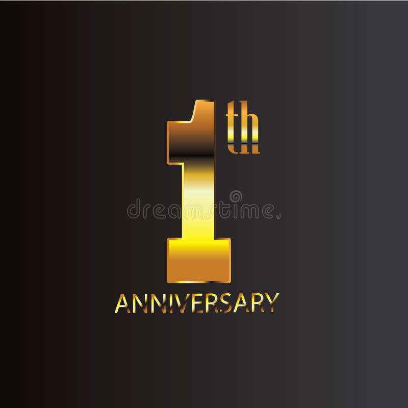 Ouro do preto do projeto do aniversário ilustração royalty free