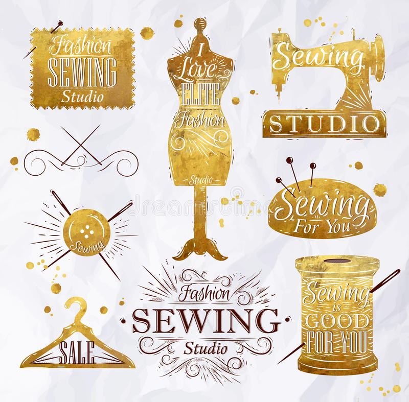 Ouro do símbolo da costura ilustração stock