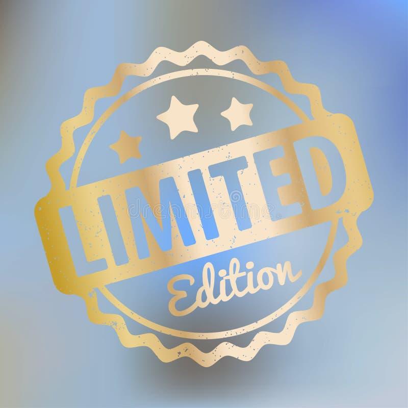 Ouro do vetor da concessão do carimbo de borracha da edição limitada em um fundo do bokeh do lila ilustração do vetor