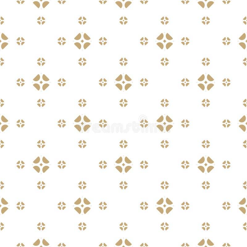 Ouro do vetor e fundo branco Teste padrão sem emenda floral geométrico abstrato ilustração stock