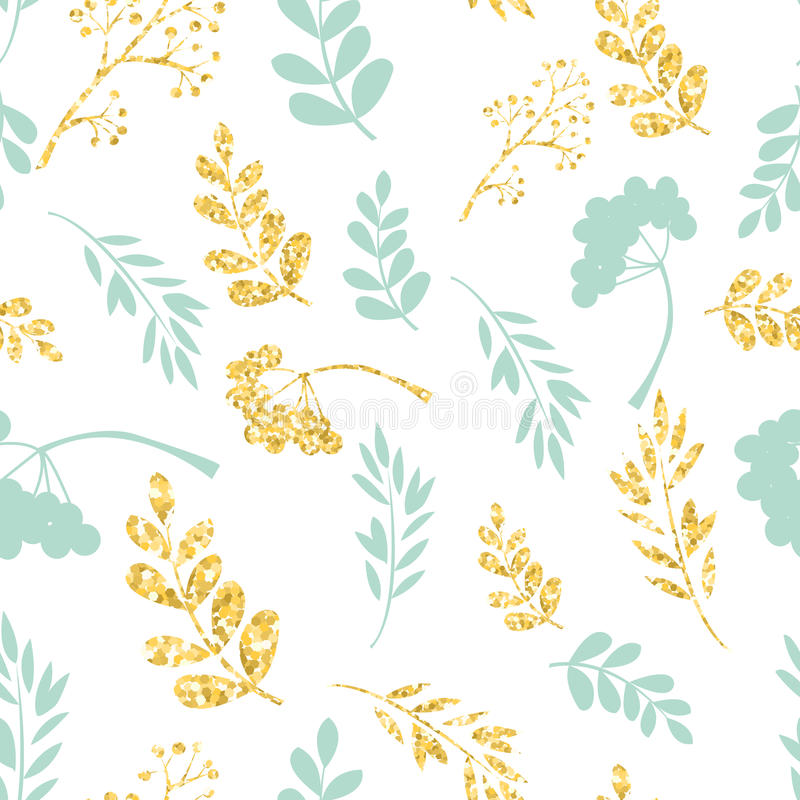 Ouro do vetor e teste padrão sem emenda azul Ornamento floral original no fundo branco Textura na moda do brilho ilustração royalty free