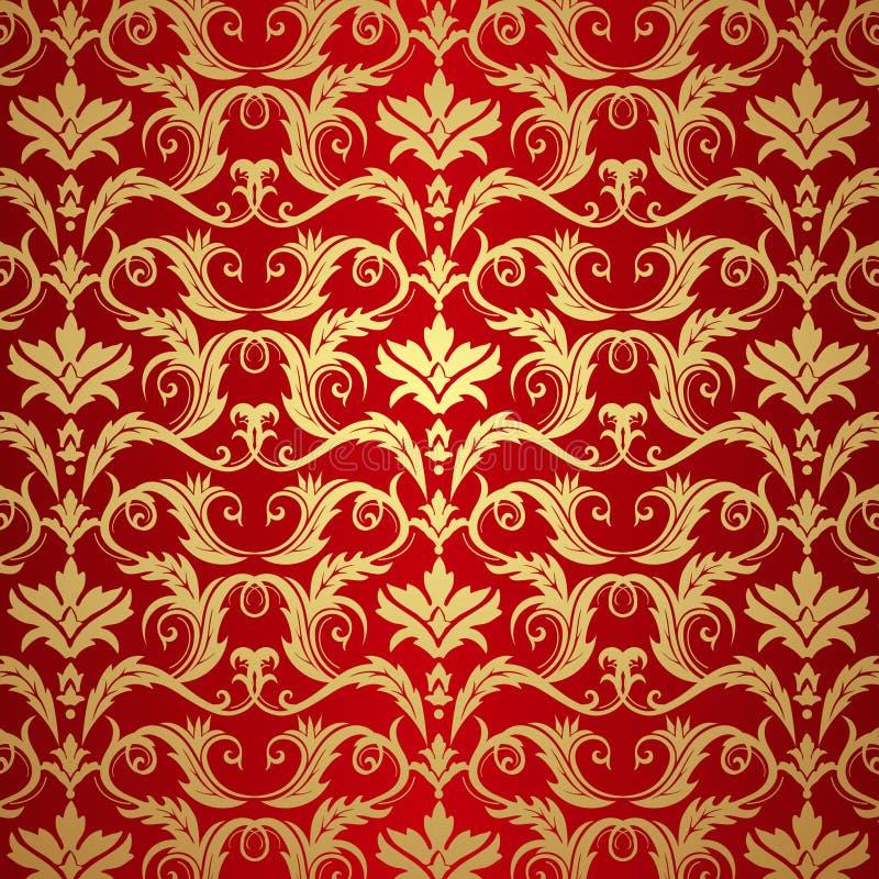 Ouro do vintage e fundo vermelho ilustração do vetor