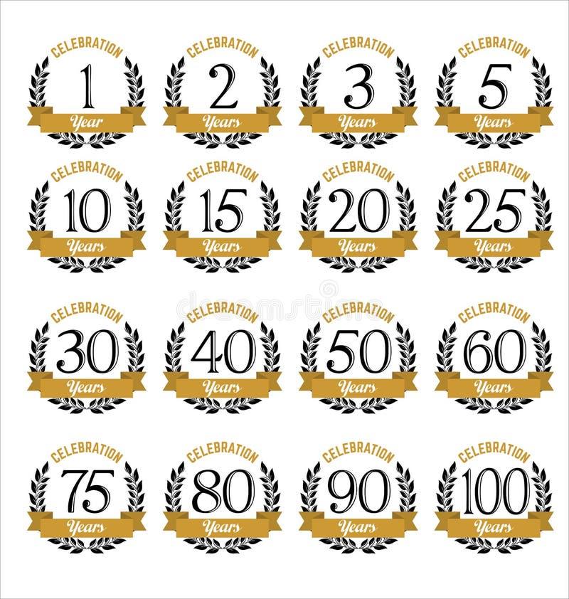 Ouro dos crachás do aniversário e cor preta ilustração stock