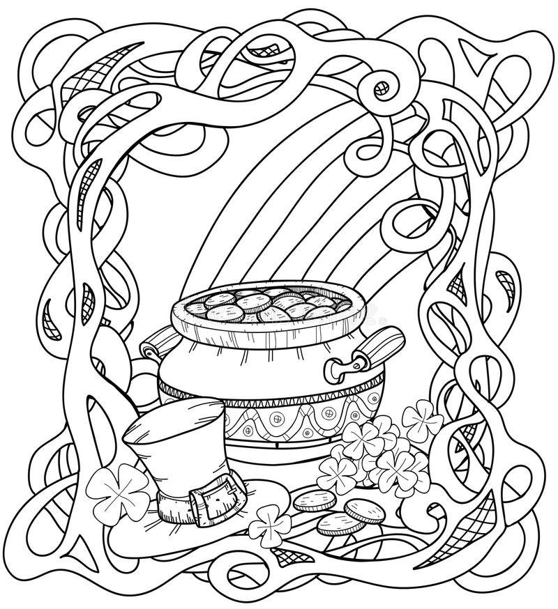 Ouro dos duendes com teste padrão celta ilustração stock