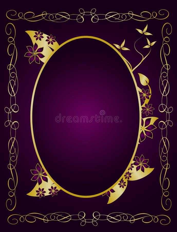 Ouro e Backround floral roxo ilustração royalty free