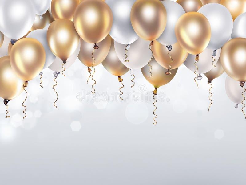 Ouro e balões brancos ilustração stock