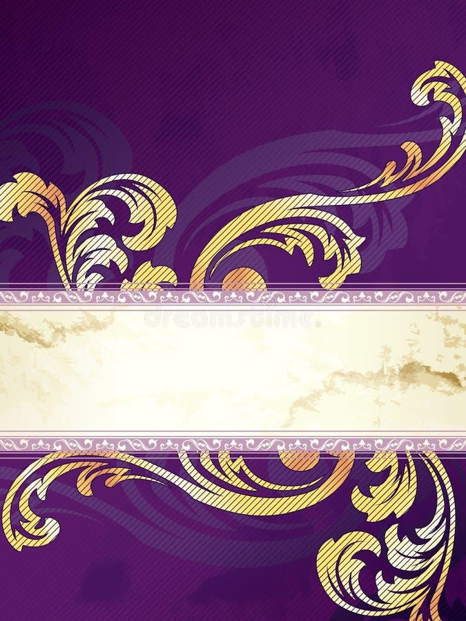 Ouro e bandeira vertical roxa do Victorian ilustração royalty free