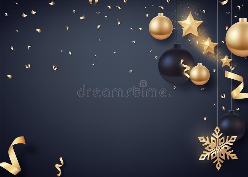 Ouro e bolas pretas do Natal com estrelas do ouro e o floco de neve dourado grande ilustração stock