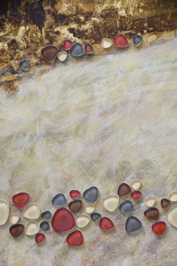 Ouro e bronze pretos, seixos de vidro da platina - mosaicos imagem de stock