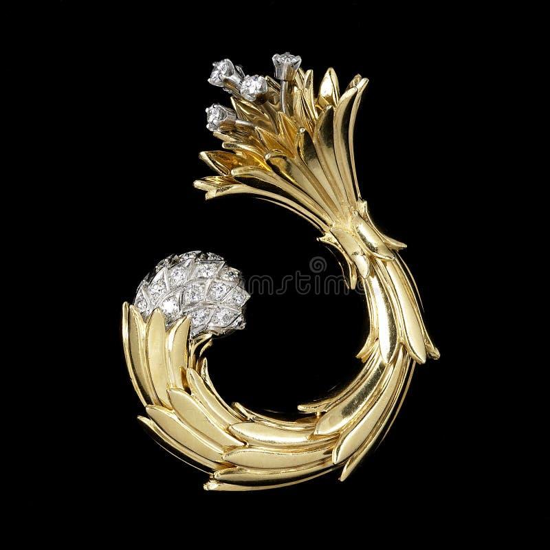 Ouro e Brooch do diamante fotos de stock