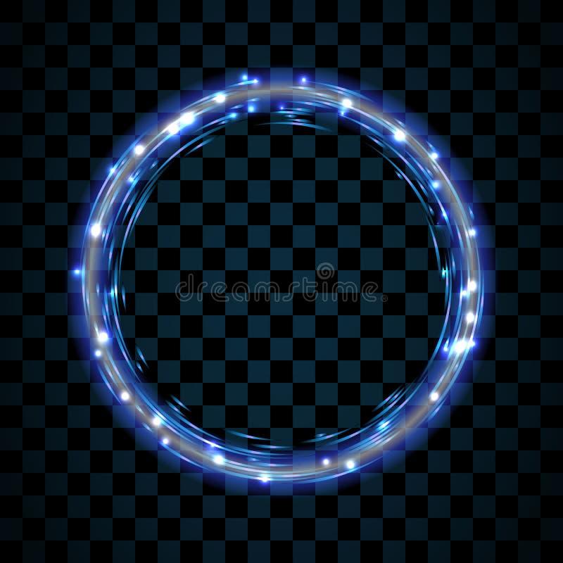 Ouro e círculo azul isolados no fundo preto transparente Ring Frame dourado Círculo do brilho com sparkles brilhantes ilustração do vetor