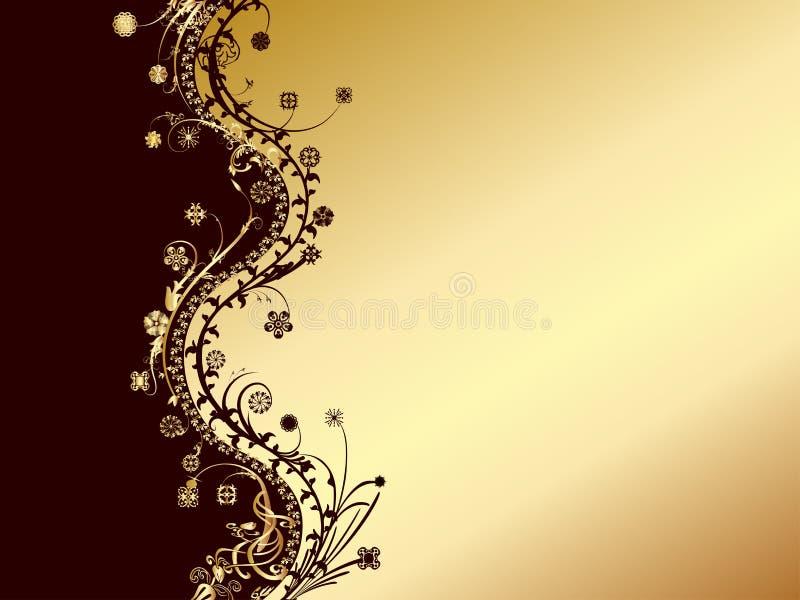 Ouro e cartão preto do convite ilustração stock
