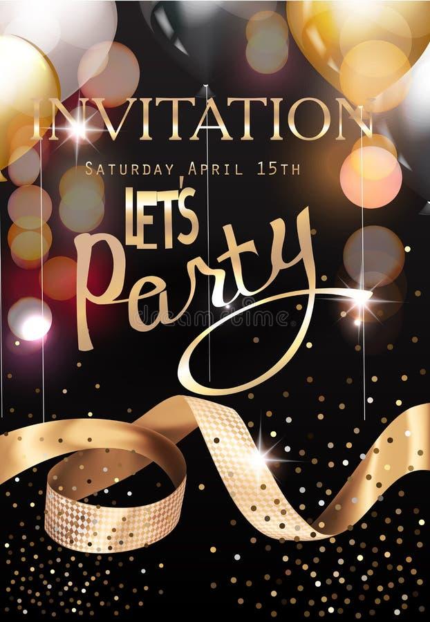 Ouro e cartão real do convite do partido do preto com luzes defocused, balões de ar e a fita encaracolado do ouro ilustração royalty free