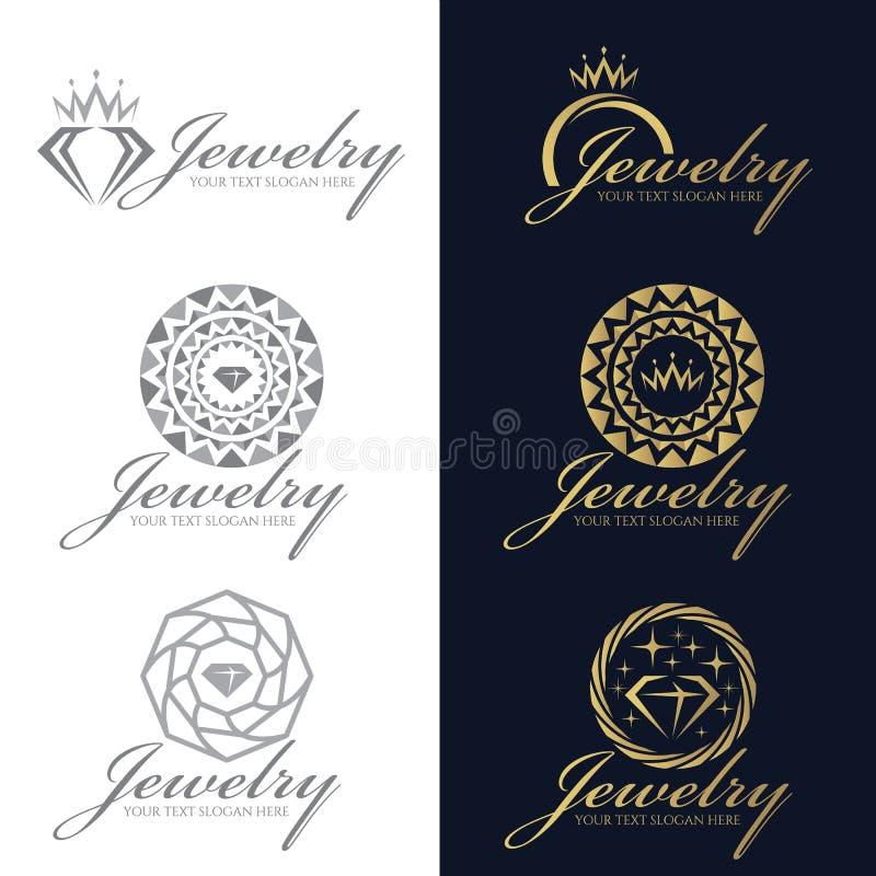 Ouro e cenografia cinzenta do vetor do logotipo da joia