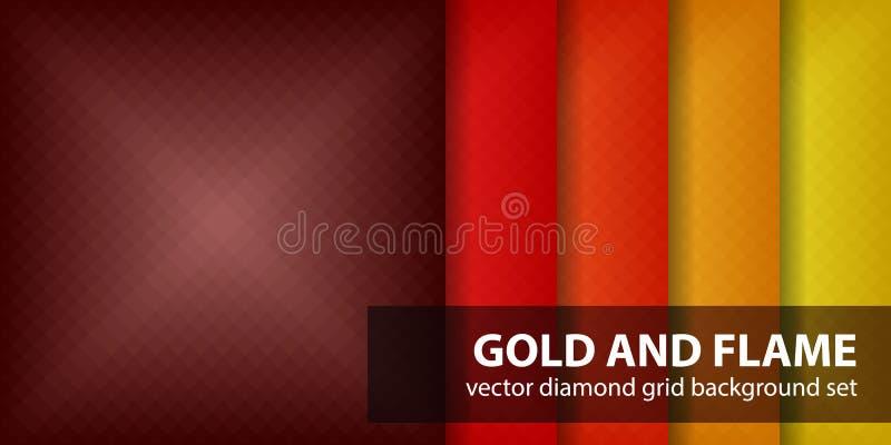 Ouro e chama ajustados do teste padrão do diamante ilustração do vetor
