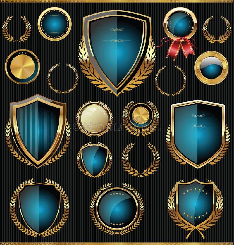 Ouro e coleção azul dos protetores, dos louros e das medalhas ilustração royalty free