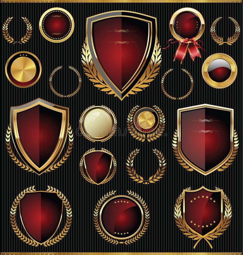 Ouro e coleção vermelha dos protetores, dos louros e das medalhas ilustração do vetor