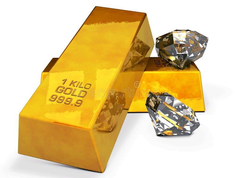 Ouro e diamantes ilustração do vetor