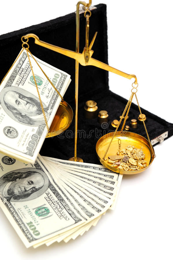 Ouro e dinheiro crus fotos de stock