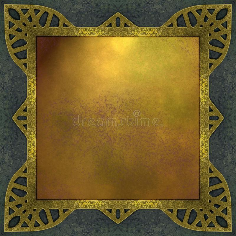 Ouro e fundo azul com frame do projeto ilustração stock