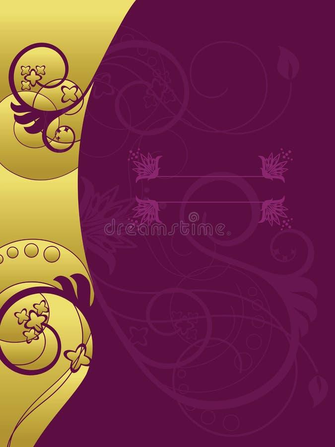 Ouro e fundo floral roxo ilustração do vetor