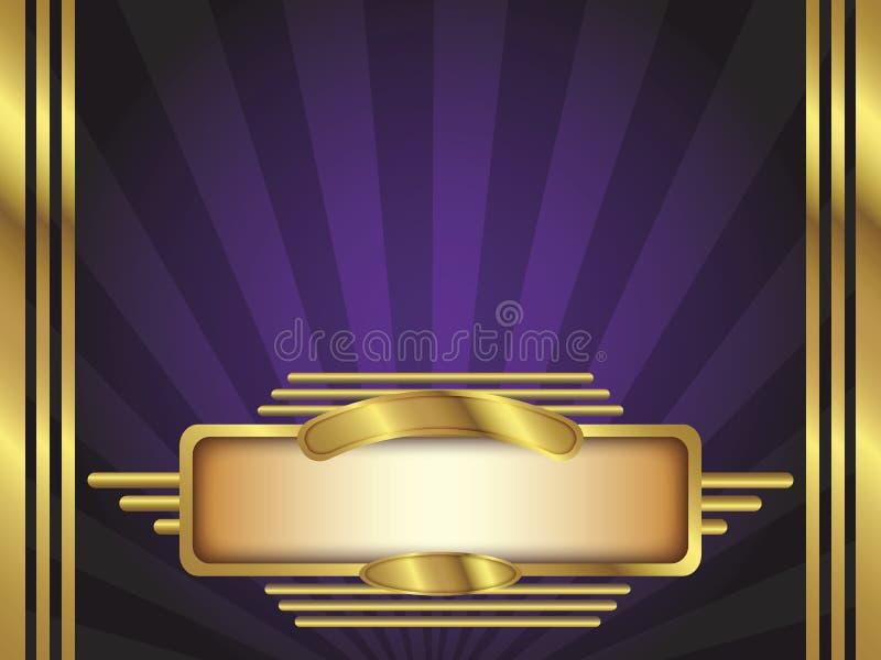 Ouro e fundo roxo do vetor do estilo do art deco ilustração do vetor