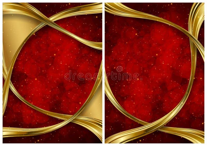 Ouro e fundos abstratos vermelhos ilustração do vetor