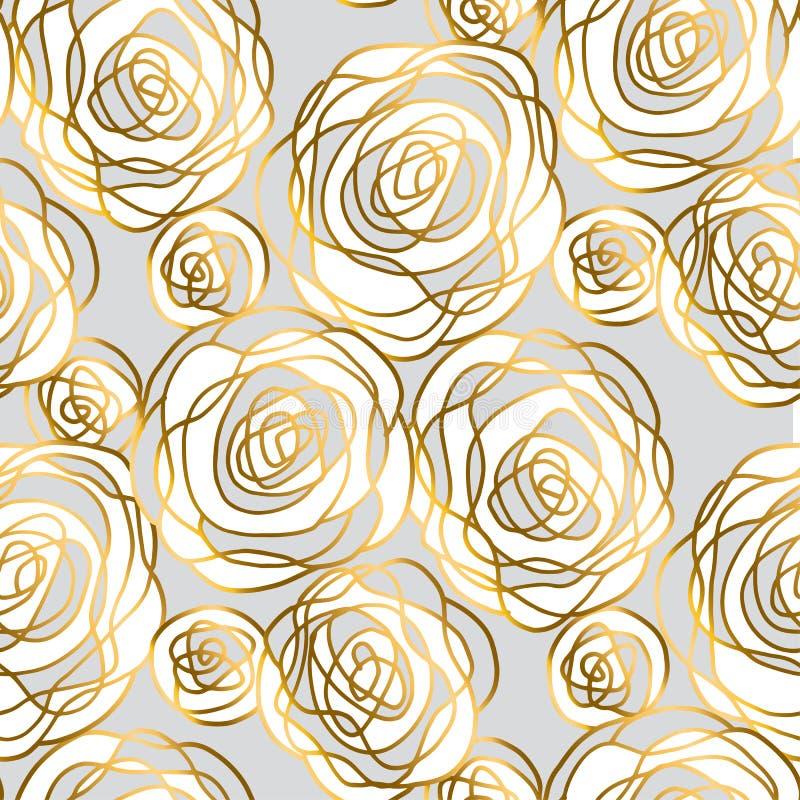 Ouro e mão cinzenta motivo cor-de-rosa tirado ilustração royalty free