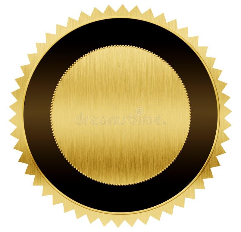 Ouro e medalha preta com trajeto de grampeamento ilustração royalty free