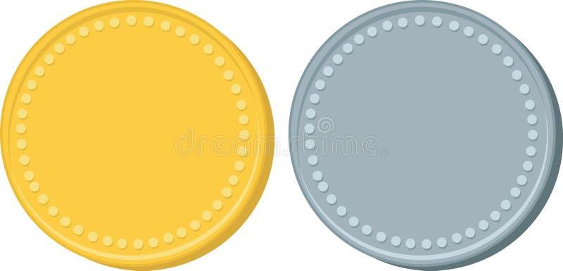 Ouro e moedas de prata ilustração do vetor