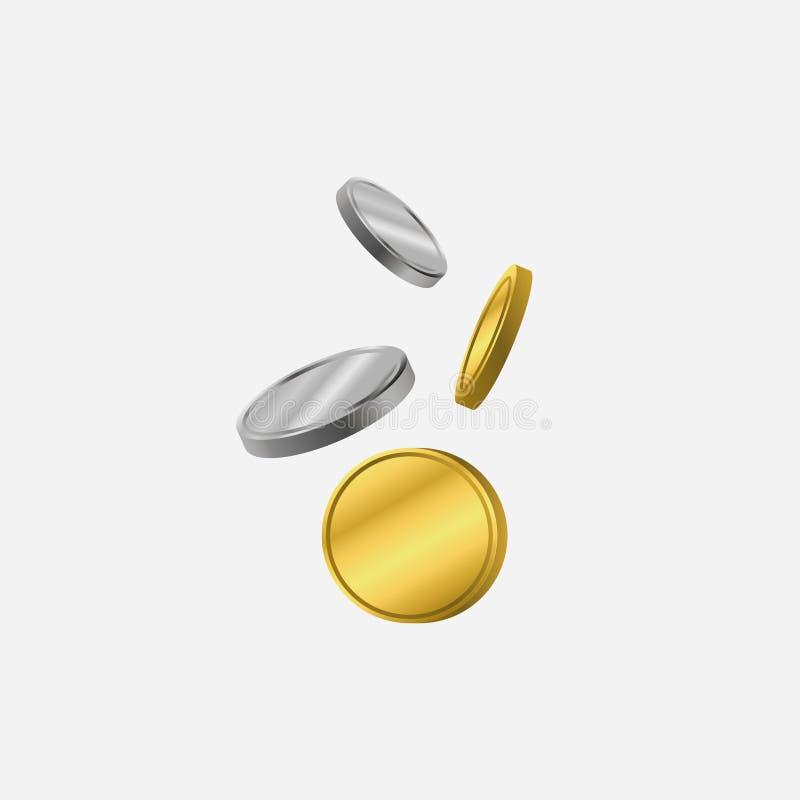 Ouro e moedas de prata Inclinação abaixo da moeda Ilustração do vetor ilustração stock