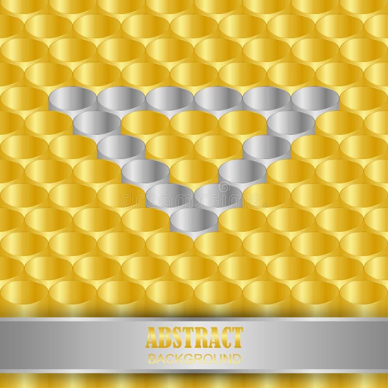 ouro e prata do formato da tubulação da vista 3D como o fundo ilustração do vetor