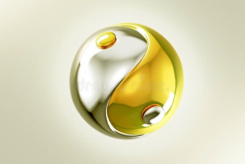 Ouro e prata Yin Yang ilustração stock