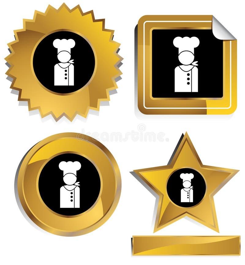 Download Ouro E Preto - Cozinheiro Chefe Ilustração do Vetor - Ilustração de símbolo, trabalhador: 10059735
