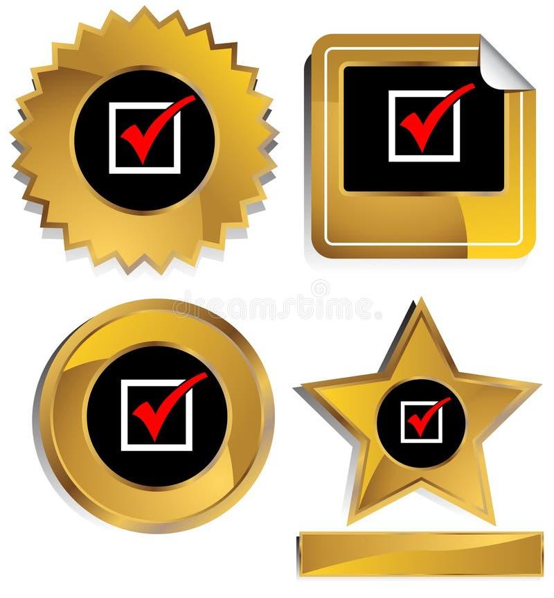 Ouro e preto - marca de verificação vermelha ilustração royalty free