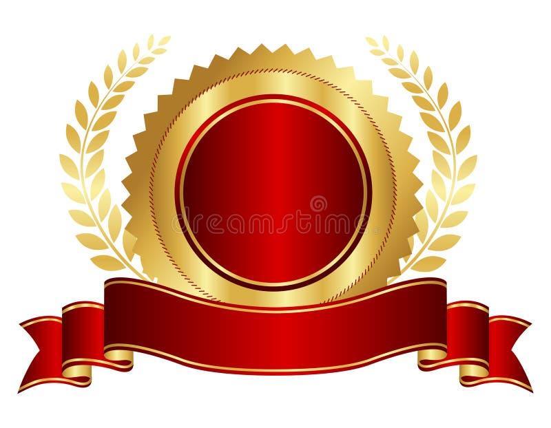 Ouro e selo vermelho com fita ilustração stock